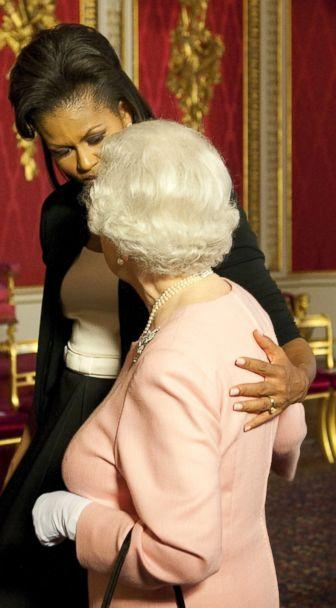 PHOTO: Former first lady Michelle Obama meets with Britain's Queen Elizabeth II at the reception at Buckingham Palace in London, April 1, 2009. (Daniel Hambury/Pool via AP, FILE)