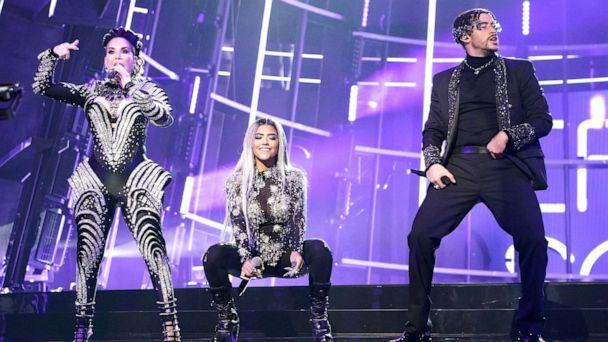 PHOTO: Ivy Queen, Nesi, and Bad Bunny perform 'Yo Perreo Sola' during the 2020 Billboard Music Awards held at the Dolby Theatre in Hollywood, Calif., Oct. 14, 2020. (Andrew Gombert/Los Angeles Times via Getty Images)