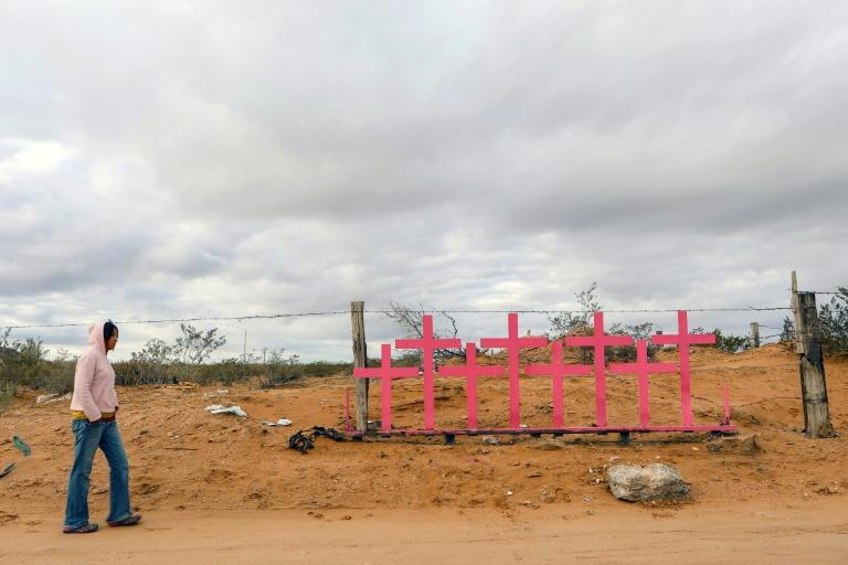 """A woman walks near pink crosses placed in memory of eight murdered women at Lomas de Poleo, in Ciudad Juarez -- once dubbed the """"murder capital of the world"""""""