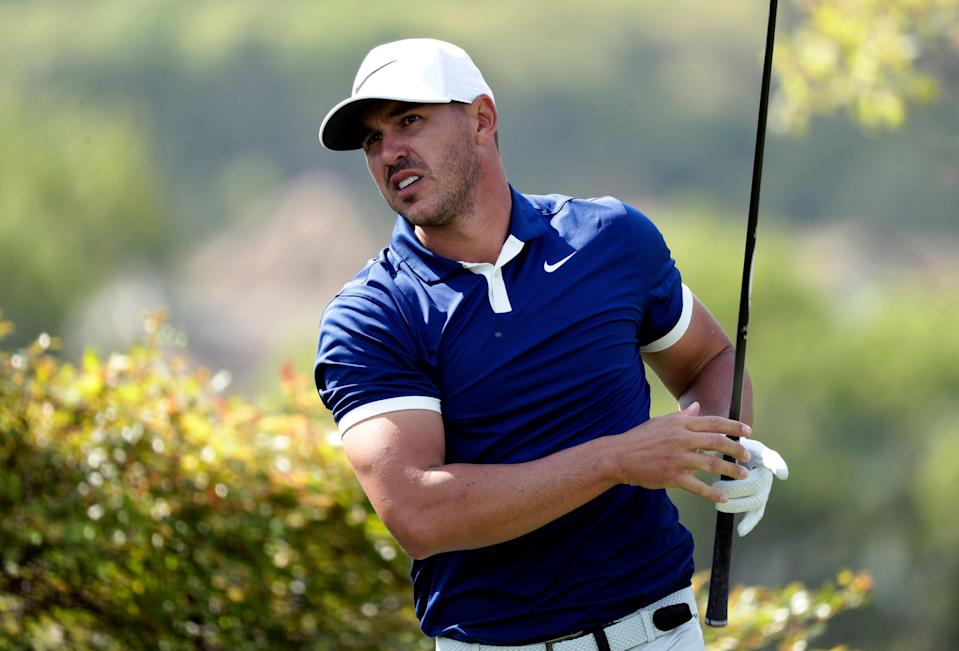Brooks Koepka watches his drive on the sixth hole during round-robin play at the Dell Match Play Championship golf tournament, Wednesday, March 27, 2019, in Austin, Texas. (AP Photo/Eric Gay)