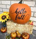 """<p>Keep your Halloween decoration out for a little longer with this fall-friendly decal that you can just stick on a pumpkin.<strong><br></strong></p><p><a class=""""link rapid-noclick-resp"""" href=""""https://go.redirectingat.com?id=74968X1596630&url=https%3A%2F%2Fwww.etsy.com%2Flisting%2F630726832%2Fhello-fall-pumpkin-decal-adhesive-vinyl&sref=https%3A%2F%2Fwww.womansday.com%2Fhome%2Fdecorating%2Fg331%2F4-no-carve-pumpkin-ideas-124409%2F"""" rel=""""nofollow noopener"""" target=""""_blank"""" data-ylk=""""slk:SHOP PUMPKIN DECALS"""">SHOP PUMPKIN DECALS</a> </p>"""