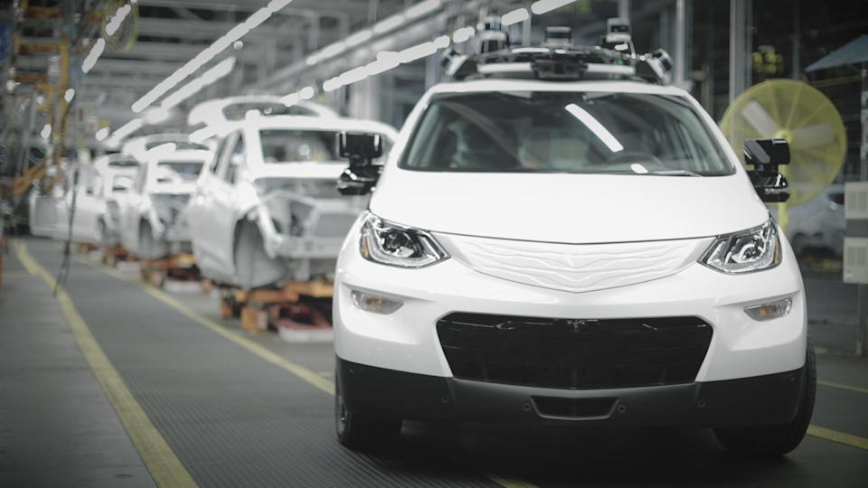 An autonomous Chevy Bolt in the GM Orion factory in Michigan.