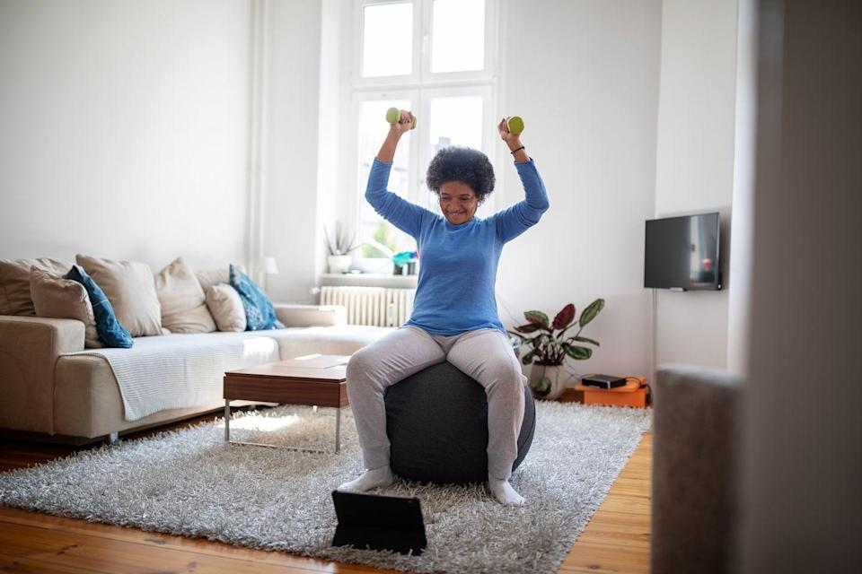 """<p>Make sure you're getting some form of physical activity in each day, whether it's walking, lifting weights, or doing some cardio. <a href=""""https://www.beingpatient.com/exercise-adad-alzheimers-risk/"""" rel=""""nofollow noopener"""" target=""""_blank"""" data-ylk=""""slk:Research"""" class=""""link rapid-noclick-resp"""">Research</a> has found that participating in 150 minutes of exercise a week (which comes out to just two and a half hours) could delay an inherited form of Alzheimer's. Scientists also say that regular exercise can help <a href=""""https://www.beingpatient.com/wendy-suzuki-exercise-brain/"""" rel=""""nofollow noopener"""" target=""""_blank"""" data-ylk=""""slk:improve brain health"""" class=""""link rapid-noclick-resp"""">improve brain health</a> and boost brain function - just make sure it's exercise that gets your heart pumping, but not something so intense that you can't move the next day. </p>"""