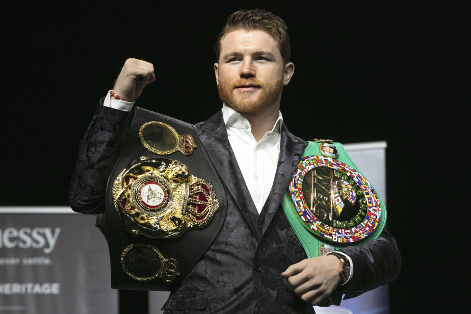 Canelo Alvarez is looking to claim a third title belt on Saturday at Madison Square Garden vs. Rocky Fielding. (AP Photo/Richard Drew)