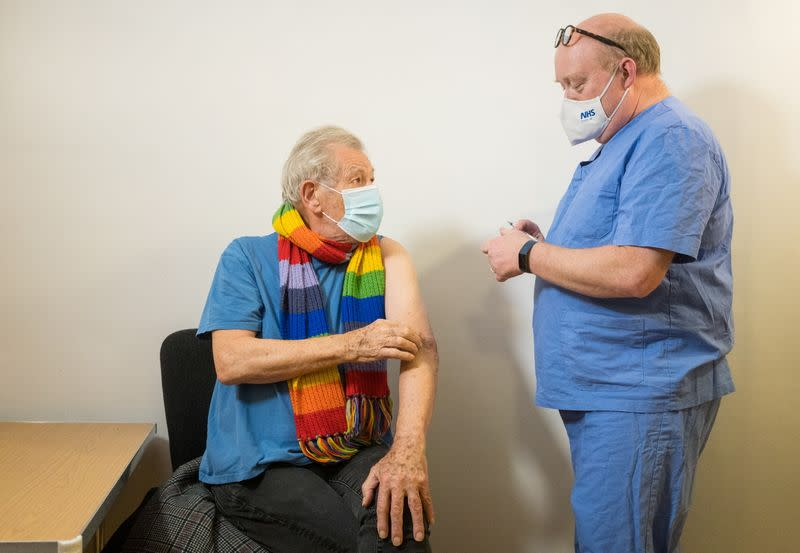 Actor Ian McKellen receives COVID-19 vaccine at Queen Mary University Hospital, in London