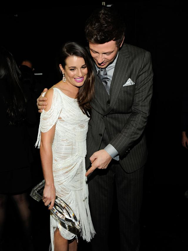 "LOS ANGELES, CA - JANUARY 11: Actors Lea Michele with the award for ""Favorite TV Comedy Actress"" and Cory Monteith attend the 2012 People's Choice Awards at Nokia Theatre L.A. Live on January 11, 2012 in Los Angeles, California. (Photo by Frazer Harrison/Getty Images for PCA)"