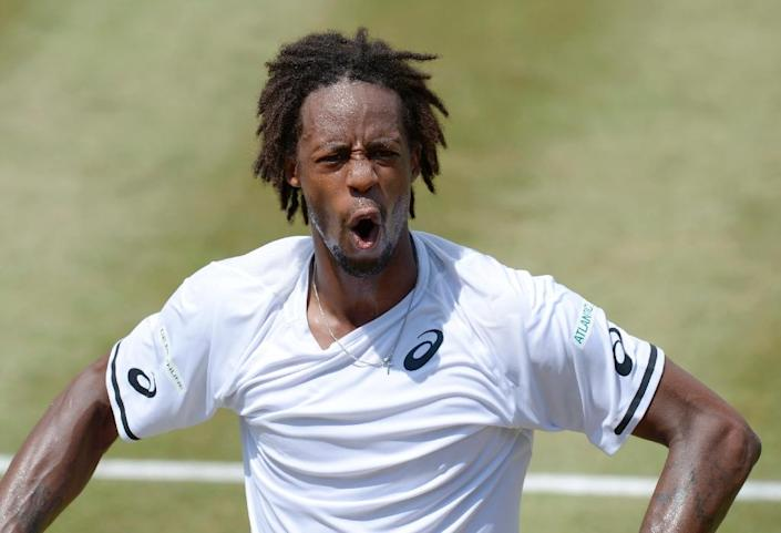France's Gael Monfils in action during his quarter-final against Germany's Philipp Kohlschreiber at the Stuttgart Open on June 12, 2015 (AFP Photo/Thomas Kienzle)
