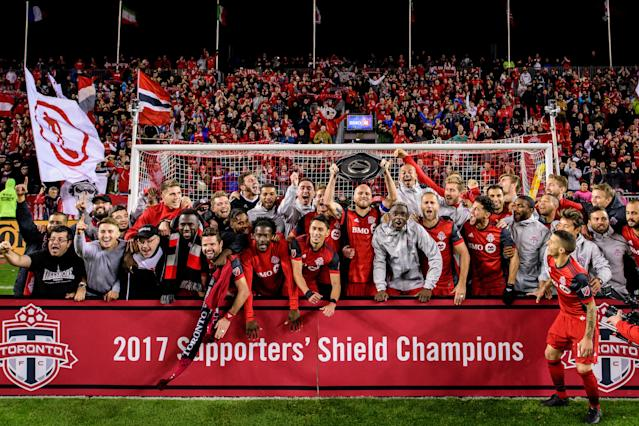 "<a class=""link rapid-noclick-resp"" href=""/soccer/teams/toronto-fc/"" data-ylk=""slk:Toronto FC"">Toronto FC</a> won the Supporters' Shield with plenty of time to spare. (Getty)"