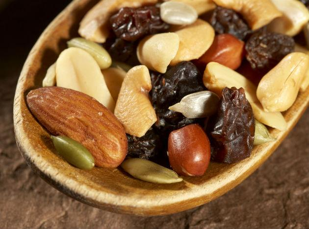 <b>Trail mix</b>: Nibbling on trail mix is an excellent way to top up on the minerals lost during exercise. Indeed, a well-prepared trail mix includes a well-rounded mix of nutrients that are essential for maintaining optimum energy levels throughout your workout. Trail mix provides protein too, which is essential for building muscles and prolonging optimum energy levels so this is the perfect go-to snack before, during, and after your exercise.