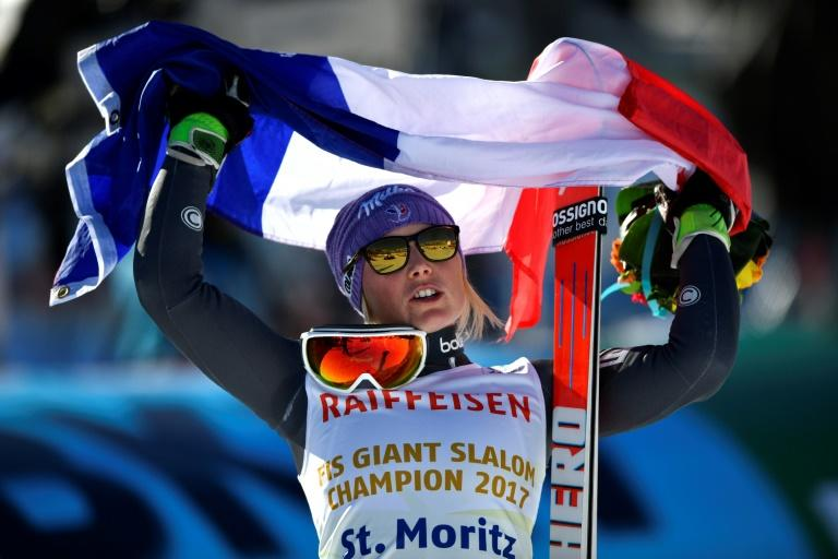 France's Tessa Worley has become only the fifth skier to have won two giant slalom golds with victory at St Moritz, on February 16, 2017