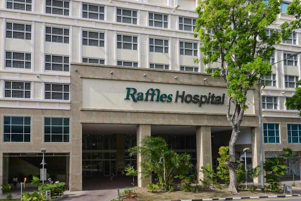 Singapore - December 4, 2019: Entrance to the Raffles Hospital in Singapore.(the flagship of the Raffles Medical Group) in Singapore.