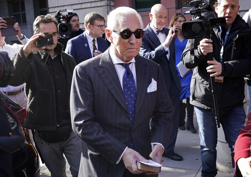 Former advisor to U.S. President Donald Trump, Roger Stone, leaves the E. Barrett Prettyman United States Courthouse after being found guilty of obstructing a congressional investigation into Russia's interference in the 2016 election on November 15, 2019 in Washington, DC. Stone faced seven felony charges and was found guilty on all counts. (Photo: Win McNamee/Getty Images)