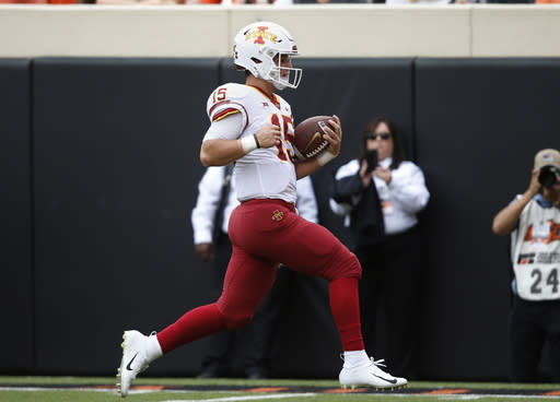Iowa State quarterback Brock Purdy had five touchdowns in the Cyclones' win over Oklahoma State. (AP Photo/Sue Ogrocki)