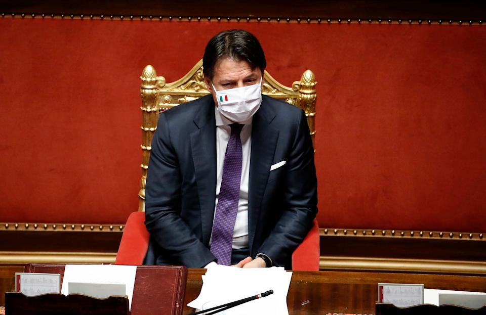 Italian Prime Minister Giuseppe Conte with protective mask in the Senate Chamber during the information on the results of the extraordinary European Council, held in Brussels from 17 to 21 July. Rome (Italy), July 22nd, 2020 (Photo by Massimo Di Vita/Archivio Massimo Di Vita/Mondadori Portfolio via Getty Images) (Photo: Mondadori Portfolio via Getty Images)
