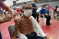 A man is inoculated with the Sputnik V vaccine against Covid-19 in San Lorenzo, Paraguay on May 21 2021