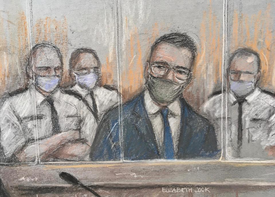Court artist sketch by Elizabeth Cook of Pawel Relowicz (2nd right), who denies raping and murdering Libby Squire, appearing at Sheffield Crown Court.