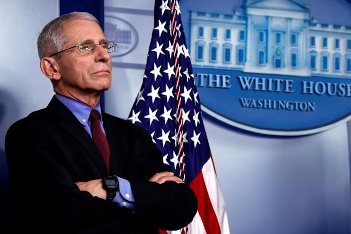 """Dr. Anthony Fauci, director of the National Institute of Allergy and Infectious Diseases, at a briefing about the coronavirus in the White House briefing room. <span class=""""copyright"""">(Alex Brandon / AP Photo)</span>"""