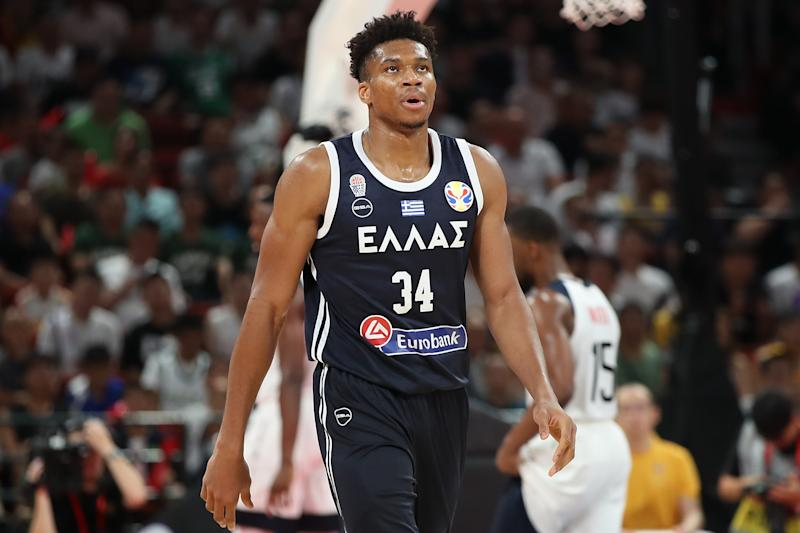 SHENZHEN, CHINA - SEPTEMBER 07: Giannis Antetokounmpo #34 of Greece reacts during FIBA World Cup 2019 Group K match between USA and Greece at Shenzhen Bay Sports Centre on September 7, 2019 in Shenzhen, China. (Photo by Lintao Zhang/Getty Images)