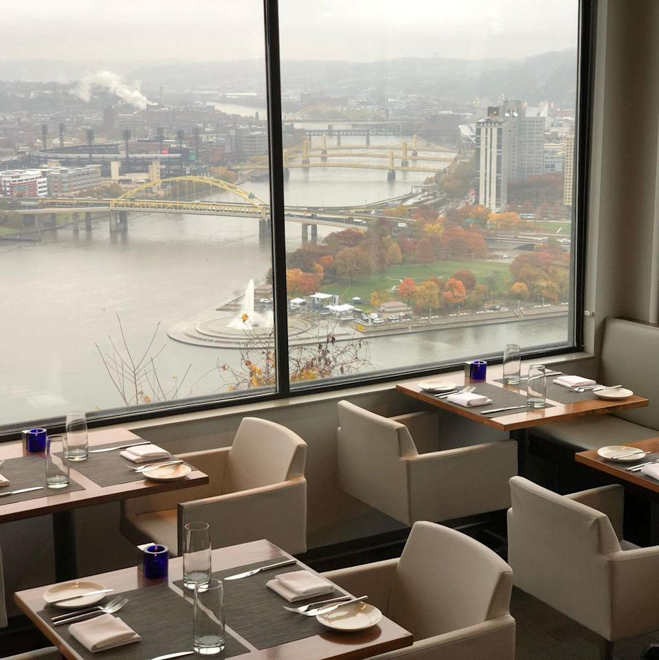 "<p><strong>Pittsburgh, Pennsylvania</strong></p><p>You'll want to request a table by the windows, where you can see (almost) all of the city. The contemporary American cuisine at <strong><a href=""http://altiuspgh.com/"" rel=""nofollow noopener"" target=""_blank"" data-ylk=""slk:Altius"" class=""link rapid-noclick-resp"">Altius</a></strong> will have you hooked, and is the ultimate spot for any special meal. </p>"