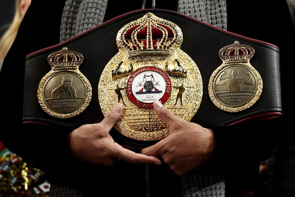 NEW YORK, NEW YORK - DECEMBER 14: The WBA Super Middleweight Championship belt is seen during the official weigh-in at Madison Square Garden on December 14, 2018 in New York City. (Photo by Sarah Stier/Getty Images)