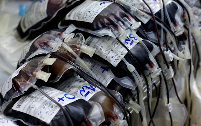 <p>Packs of blood are seen during a blood donation campaign at Ibn al-Atheer hospital in eastern Mosul, Iraq, May 13, 2017. (Photo: Danish Siddiqui/Reuters) </p>