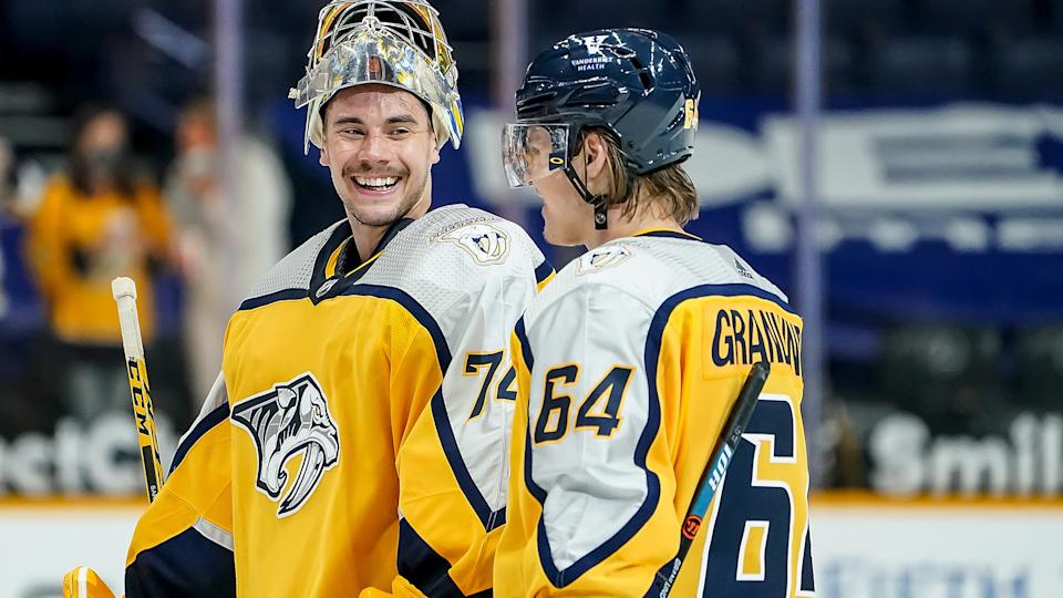 Juuse Saros and the Nashville Predators have plenty to smile about these days. (Photo by John Russell/NHLI via Getty Images)