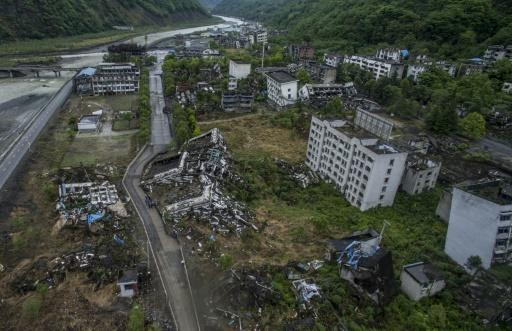 Houses destroyed by the 2008 Sichuan earthquake in Beichuan have been kept frozen in time since