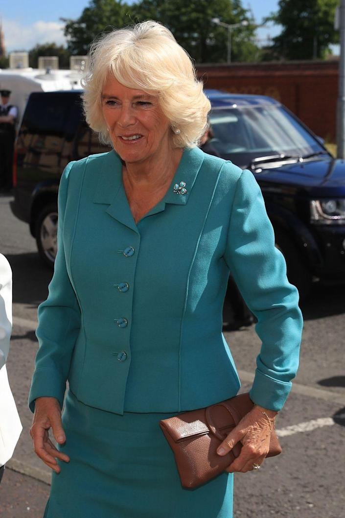 <p>During a trip to Northern Ireland, the Duchess adorned a bright blue suit with a shamrock pin. She also carried a small brown clutch for her visit to the Belfast Welcome Organisation, which provides support to people affected by homelessness.</p>