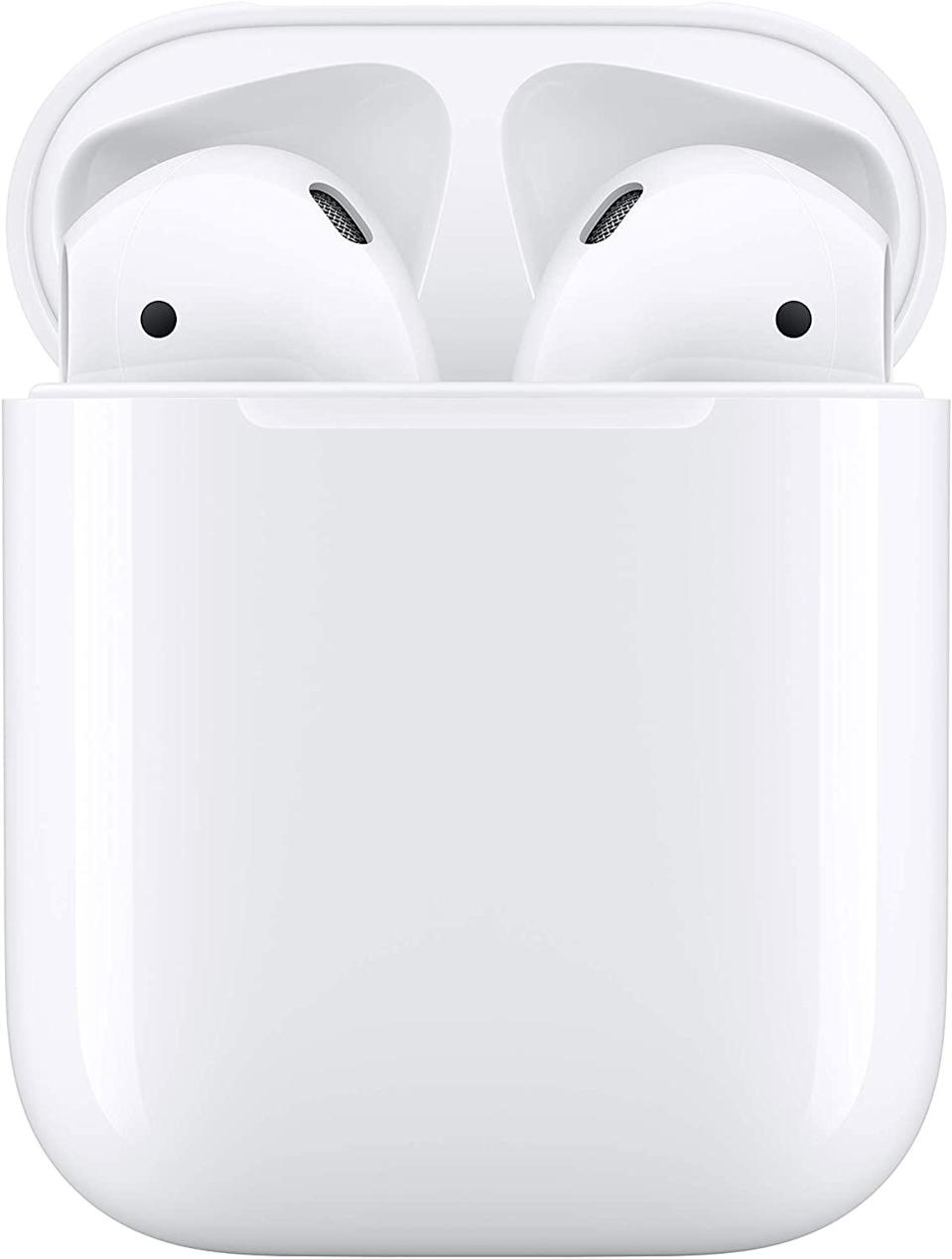 """<br><br><strong>Apple</strong> AirPods with Charging Case, $, available at <a href=""""https://amzn.to/33VIy7X"""" rel=""""nofollow noopener"""" target=""""_blank"""" data-ylk=""""slk:Amazon"""" class=""""link rapid-noclick-resp"""">Amazon</a>"""
