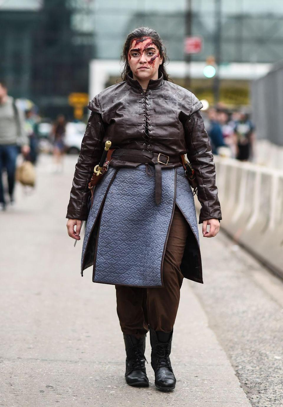 """<p>Arya ended up being the savior of the seven kingdoms, and therefore deserves to be commemorated in a well-made Halloween costume. And of course, you can't forget her trusty sword, Needle.</p><p><a class=""""link rapid-noclick-resp"""" href=""""https://www.amazon.com/Encore-Costumes-Cosplay-Adults-Medium/dp/B07X31FGG5?tag=syn-yahoo-20&ascsubtag=%5Bartid%7C10070.g.28762544%5Bsrc%7Cyahoo-us"""" rel=""""nofollow noopener"""" target=""""_blank"""" data-ylk=""""slk:SHOP CLOAK"""">SHOP CLOAK</a></p><p><a class=""""link rapid-noclick-resp"""" href=""""https://www.amazon.com/Handmade-Katana-Cosplay-Stainless-Needle/dp/B08LVHHN26/?tag=syn-yahoo-20&ascsubtag=%5Bartid%7C10070.g.28762544%5Bsrc%7Cyahoo-us"""" rel=""""nofollow noopener"""" target=""""_blank"""" data-ylk=""""slk:SHOP NEEDLE"""">SHOP NEEDLE</a></p>"""