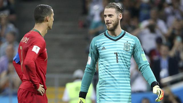 The Spain centre-back showed his solidarity with the fallen goalkeeper after he let a Cristiano Ronaldo shot slip by him in their World Cup opener