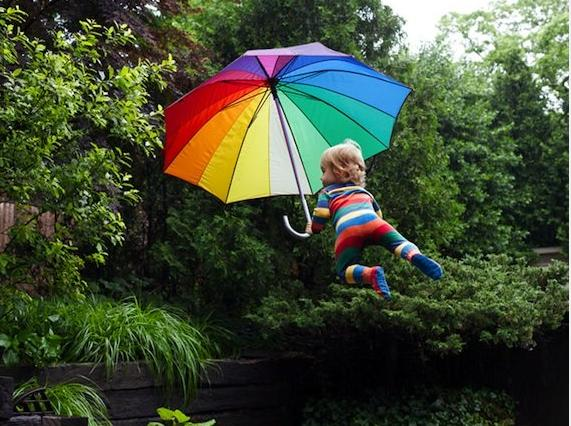 """<div class=""""caption-credit""""> Photo by: Rachel Hulin</div><div class=""""caption-title""""></div><b>The Flying Baby</b>: Rachel Hulin's six-month-old son Henry really liked it when people lifted him in the air. That gave Hulin, a New-York based photographer, the <a target=""""_blank"""" href=""""http://yhoo.it/U4OU7d"""">idea for a photo series</a> featuring her son in various states of levity. Hulin claims Henry can't actually fly, but she also insists her photographs are only slightly retouched. Something's not adding up. <br>"""