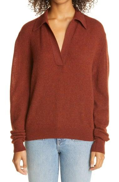 <p>The color of this <span>Khaite Jo Stretch Cashmere Polo Sweater</span> ($720) is autumnal and chic.</p>