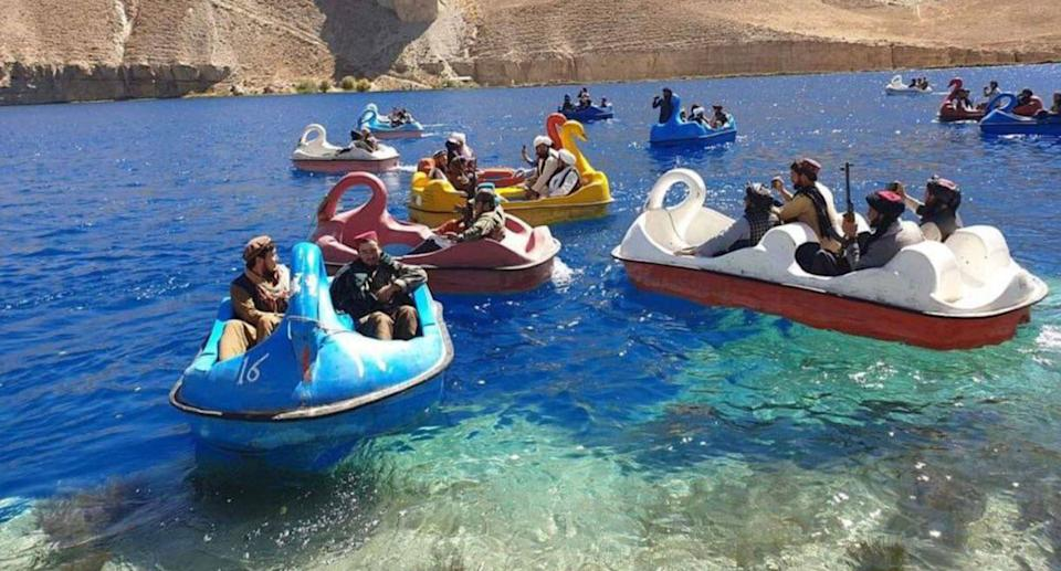 Taliban fighters were seen on paddle boats in Afghanistan's Bamyan Province. Source: Twitter/@Jake_Hanrahan