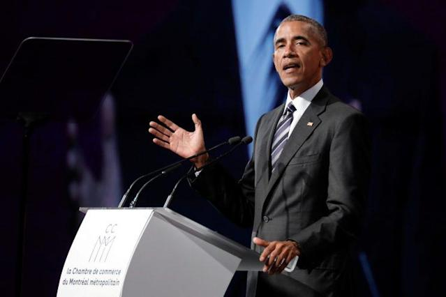 Former President Barack Obama delivers his keynote speech to the Montreal Chamber of Commerce at the Palais des congrès de Montréal, June 6, 2017. (Photo: Dario Ayala/Reuters)