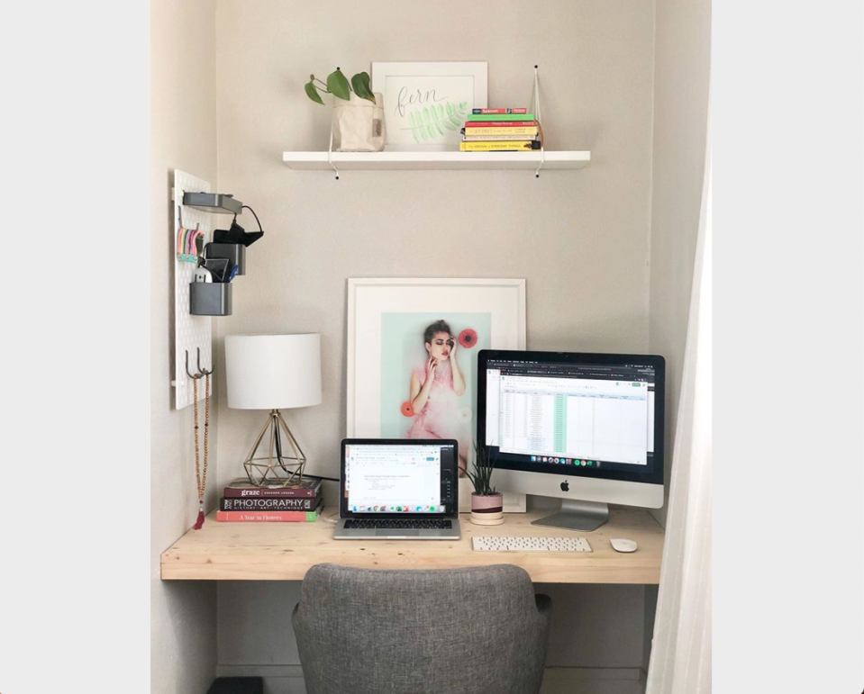 A closet makes a fantastic work nook—just add shelves and a desktop. (Photo: Havenly)