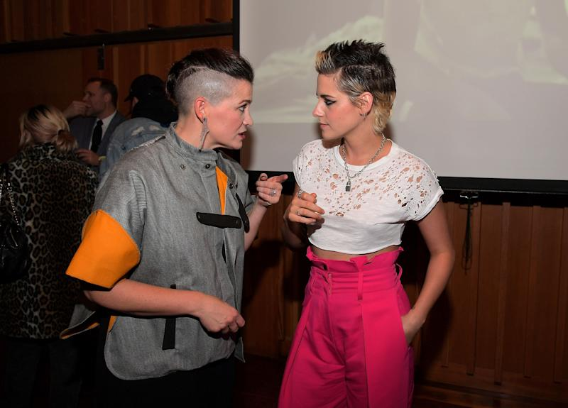 """Amy Emmerich, chief content officer at Refinery29, and Kristen Stewart at the premiere of Stewart's short film """"Come Swim"""" on Nov. 9 in Los Angeles."""