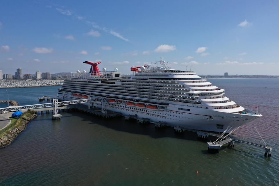 The Carnival Panorama cruise ship sits docked, empty of passengers, as the global outbreak of the coronavirus disease (COVID-19) continues, in Long Beach, California on April 16, 2020.  (Lucy Nicholson/Reuters)
