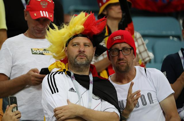 Soccer Football - World Cup - Group F - Germany vs Sweden - Fisht Stadium, Sochi, Russia - June 23, 2018 Germany fans in the stadium during the match REUTERS/Francois Lenoir