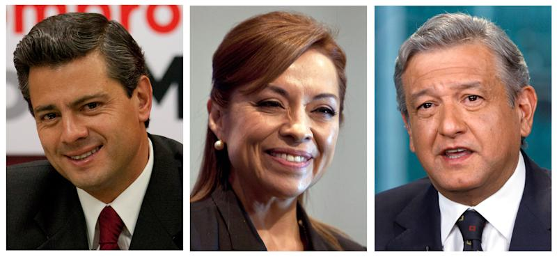 This combo picture of three file photos shows presidential candidates, from left, Enrique Pena Nieto of the Institutional Revolutionary Party, PRI, Josefina Vazquez Mota of the National Action Party, PAN, and Andres Manuel Lopez Obrador of the Democratic Revolutionary Party, PRD, during different events in Mexico City. Mexico will hold presidential elections on July 1, 2012.  (AP Photo, Files)