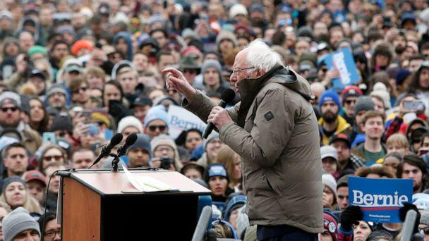PHOTO: Democratic presidential candidate Sen. Bernie Sanders speaks during campaign rally on Boston Common, Feb. 29, 2020, in Boston. (Mary Schwalm/AP)