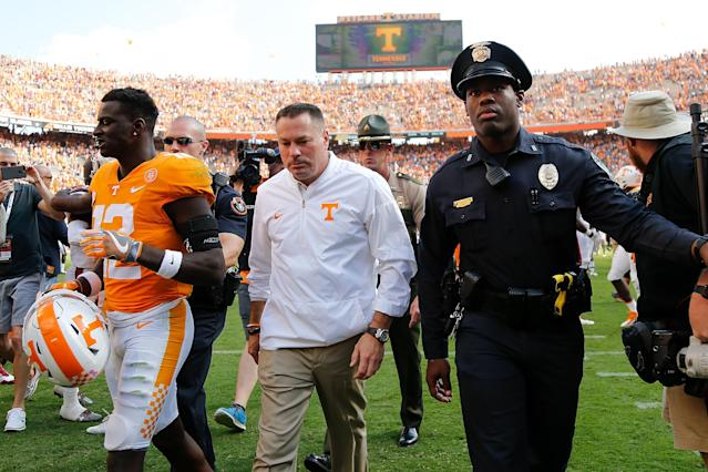 Butch Jones' picture has been on the outside of the Neyland Stadium video board since 2014. (Getty)