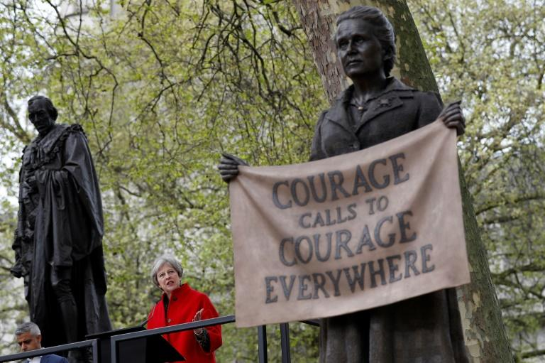 British Prime Minister Theresa May spoke during the unveiling of a statue of suffragist and women's rights campaigner Millicent Fawcett in London's Parliament Square