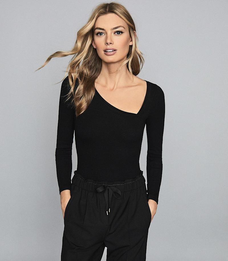 Stevie Asymmetric Neckline Bodysuit. Image via Reiss.
