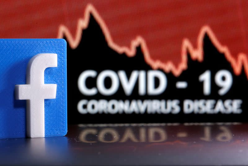 FILE PHOTO: A 3D-printed Facebook logo is seen in front of displayed coronavirus disease (COVID-19) words in this illustration