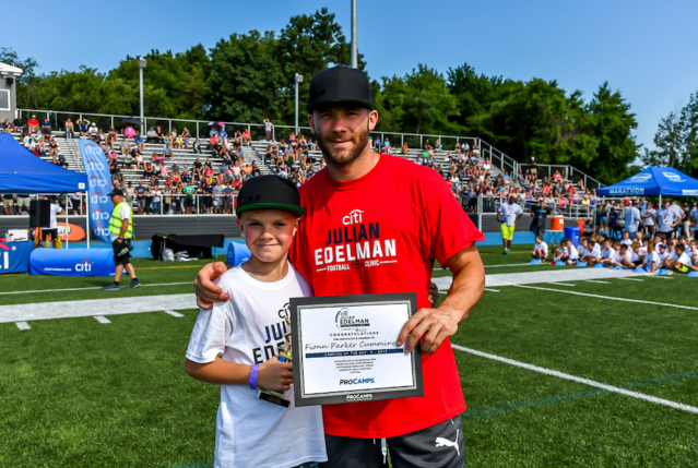 Peter Cummings' son Fionn Parker-Cummings attended Patriots' star Julian Edelman's football camp. (Courtesy of Peter Cummings)
