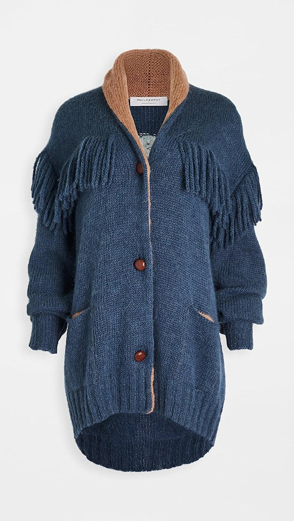 <p>This <span>Philosophy di Lorenzo Serafini Mohair Blend Cardigan</span> ($950, plus user code FALL@)) is a splurge, but it will be the hero piece of your closet.</p>