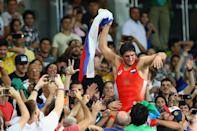 <p>Abdulrashid Sadulaev of Russia celebrates victory over Selim Yasar of Turkey in the Men's Freestyle 86kg Gold Medal bout on Day 15 of the Rio 2016 Olympic Games at Carioca Arena 2 on August 20, 2016 in Rio de Janeiro, Brazil. (Photo by Clive Brunskill/Getty Images) </p>
