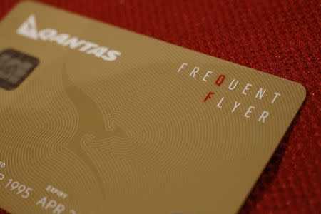 A Qantas Airlines Frequent Flier card is seen in this photo illustration in Sydney