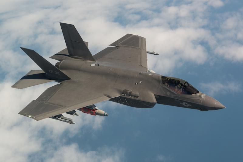 The F-35 Joint Strike Fighter in flight.